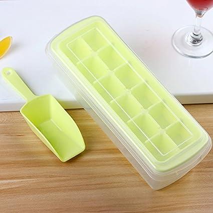 EQLEF® Hielo Cubo Bandejas con tapas 12 Cubito de hielo fácil liberación antiderrames bandeja cubito