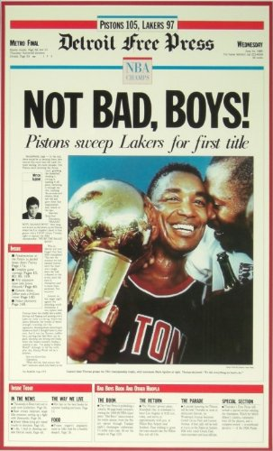 """Not Bad, Boys"" 1989 Detroit Pistons Free Press Poster ""Not Bad Detroit City Sports"