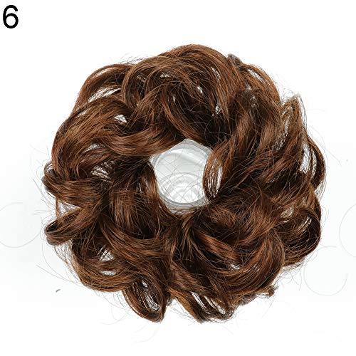 top0dream Synthetic for Women Fashion Wigs 10cm Women Hair Bun Extension Wavy Curly Messy Donut Chignons Wig Hairpiece Synthetic Loose Curly Front Wig for Women Natural Heat Resistant Hair- 6 ()