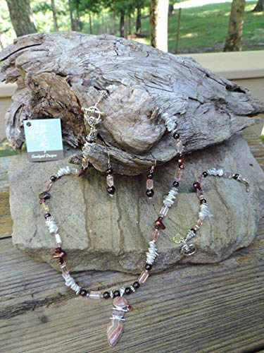 Handmade Jewelry Set - Rhodochrosite & Garnet Pendant Necklace, Bracelet & Earrings ()