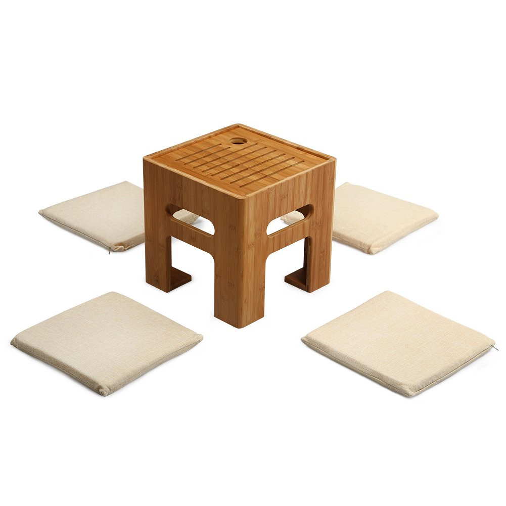 Tatami Tea Table Bamboo Stool Coffee Table with 4 Cushions for Bay Window, Balcony and Living Room