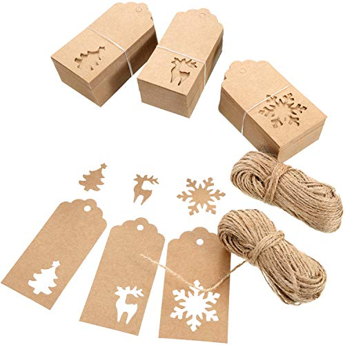 150 Pieces Paper Tags Kraft Christmas Gift Tags Hang Labels Christmas Tree Snowflake Reindeer Design for Christmas Gift Favor,DIY Arts and Crafts Wedding Supply with 20 Meters Twine 5 x 9.5cm Red
