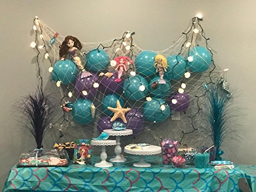 "Natural Fish Net Party Decorations for Table with Seashells 67"" x 411"""