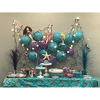 """Natural Fish Net Party Decorations for Table with Seashells 67"""" x 411"""""""