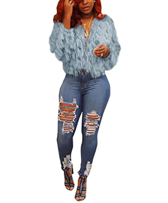3a22eb75ea8b Mycherish Women s Open Front Fringe Shaggy Cardigan Faux Fur Knitted Jacket  Tops Winter Warm Wool Sweater