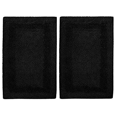 Cotton Craft 2 Piece Reversible Step Out Bath Mat Rug Set 17x24 Black, 100% Pure Cotton, Super Soft, Plush & Absorbent, Hand Tufted Heavy Weight Construction, Full Reversible, Rug Pad Recommended