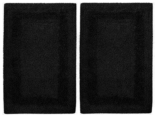 Black Matt - Cotton Craft 2 Piece Reversible Step Out Bath Mat Rug Set 17x24 Black, 100% Pure Cotton, Super Soft, Plush & Absorbent, Hand Tufted Heavy Weight Construction, Full Reversible, Rug Pad Recommended