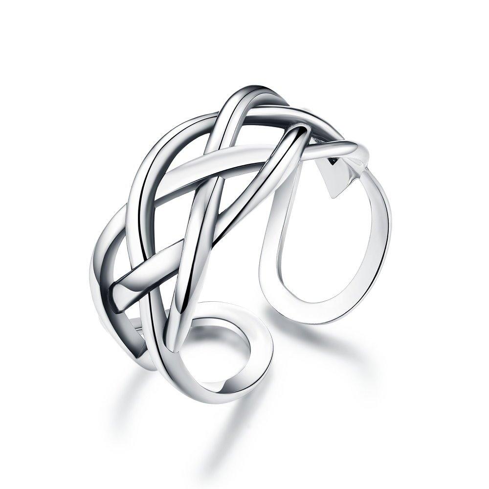 Celtic Love Knot Vintage Ring Sterling Silver Adjustable Antique Rings Open Engagement Band for Women Girls Men (Four Lines)