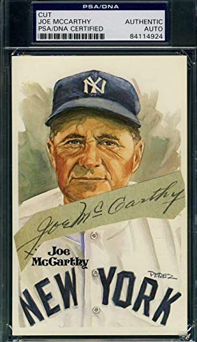 JOE MCCARTHY PSA DNA Coa Autograph Perez Steele Cut 1930`s Signed Authentic