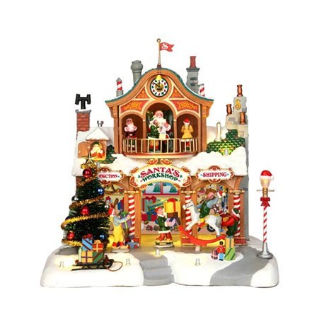 Lemax 35558 SANTA'S WORKSHOP Lighted Building Animated Christmas Village S O Scale ()