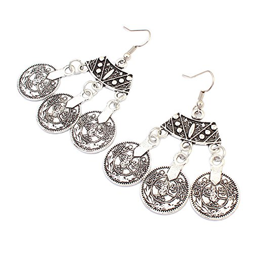 [Myun Bohemian Gypsy Pattern Antique Coin Drop Dangle Earring Stud for Women Fashion Jewelry] (Simple Halloween Costumes For High School)