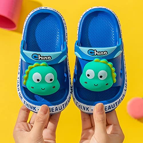 Boys Girls Slide Sandals - Cute Dinosaur Beach Slippers, Kids Lightweight Summer House Shoes Non-Slip for Shower Pool (Blue, 7.5-9Years)