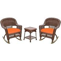 Jeco W00205R-C_2-RCES016 3 Piece Rocker Wicker Chair Set with Orange Cushion, Honey