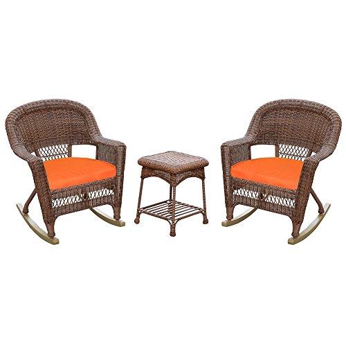 (Jeco W00205R-C_2-RCES016 3 Piece Rocker Wicker Chair Set Orange Cushion,)