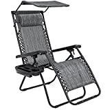 Best Choice Products Folding Steel Mesh Zero Gravity Recliner Lounge Chair with Adjustable Canopy Shade and Cup Holder Accessory Tray, Gray