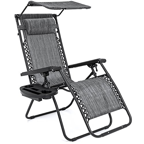Folding Zero Gravity Recliner Lounge Chair With Canopy Shade & Magazine Cup Holder (Gray) (Mesh Patio Recliner)