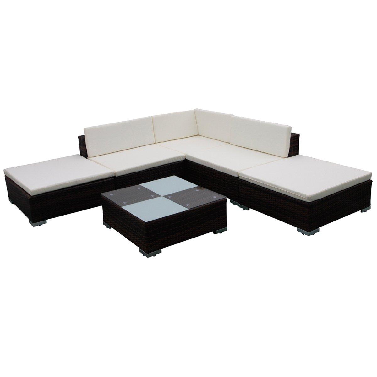 Gartenmöbel Poly Rattan Set Lounge Braun 15-teilig