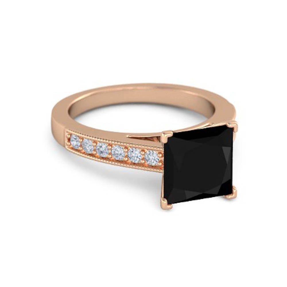 Beautiful Milgrain 14K Rose Gold Plated Solitaire Princess-Cut Black /& White Simulated Diamonds Engagement Ring