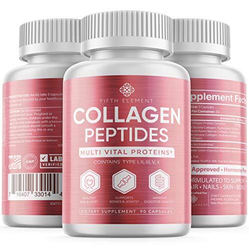 51DK7%2B6PHhL - Collagen Peptides Collagen Pills - Anti-Aging, Healthy Hair, Skin & Nails - Multi Collagen Supplements Powder Capsules (Type I, II, III, V, X) - Hydrolysate, Hydrolyzed Marine Super