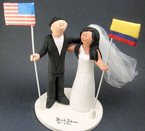 International Flags Wedding Cake Topper - Custom Made