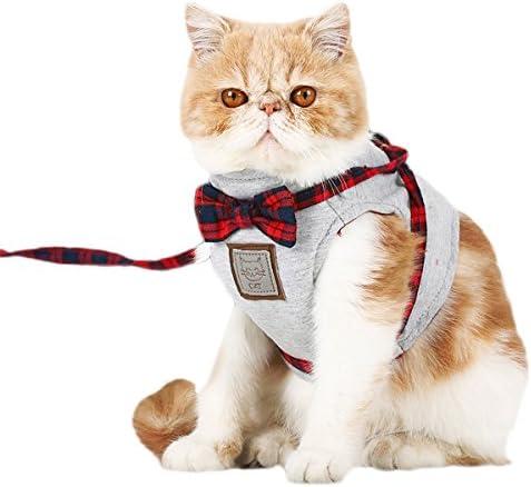 PETCUTE Katzengeschirr mit Leine katzenleine Weste Brustgeschirr Leine Verstellbare Atmungsaktives Katzengeschirr aus Weichem Air Mesh Gewebe