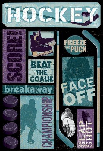 (KAREN FOSTER Design Acid and Lignin Free Scrapbooking Sticker Sheet, Hockey Goal)