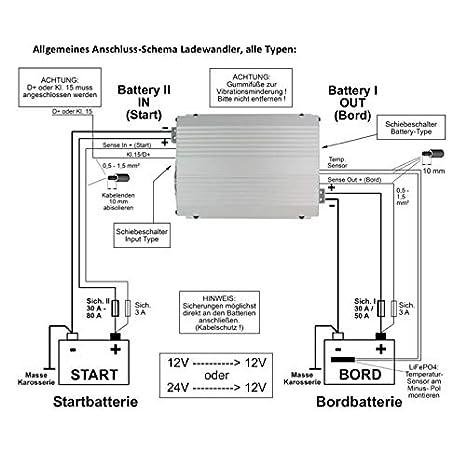 Votronic 3314 VCC 2412-25 IUoU-Li 25A B2B Ladeger/ät galvanisch isoliert