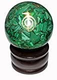 Crocon Green Malachite Orgone Sphere Ball Cho Ku Rei Symbol Energy Generator for Reiki Healing Chakra Balancing & EMF Protection Size: 50-60mm