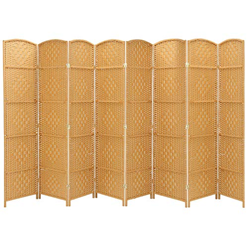 Extra Wide-Diamond Weave Fiber Room Divider, 8 panel room divider/screen,room dividers and folding privacy screens 8 panel&Room dividers and folding privacy screens-Natural, -Light Beige,8 Panels