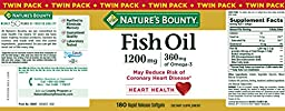 Nature\'s Bounty Fish Oil 1200 mg Twin Packs, 180 Rapid Release Liguid Softgels