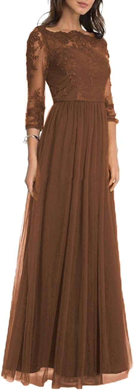 Neggcy Mother of The Bride Dresses Long Evening Prom Gown for Women Party Wedding with Sleeves Applique Chocolate cBcmd