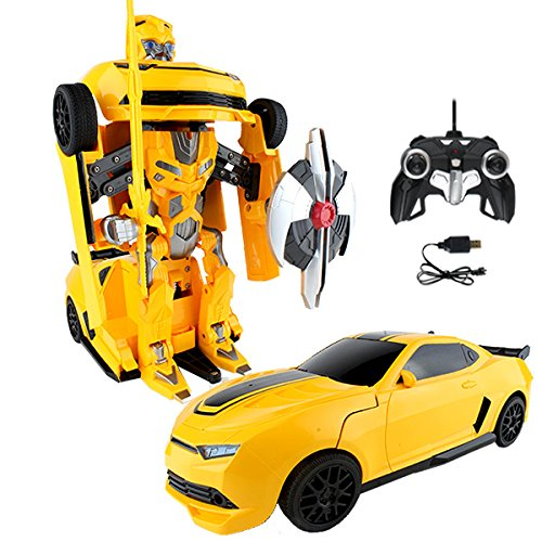 RC Toy Transforming Robot Remote Control (27 MHz) Sports Car with One Button Transformation, Realistic Engine Sounds and 360 Speed Drifting 1:22 Scale (Yellow)
