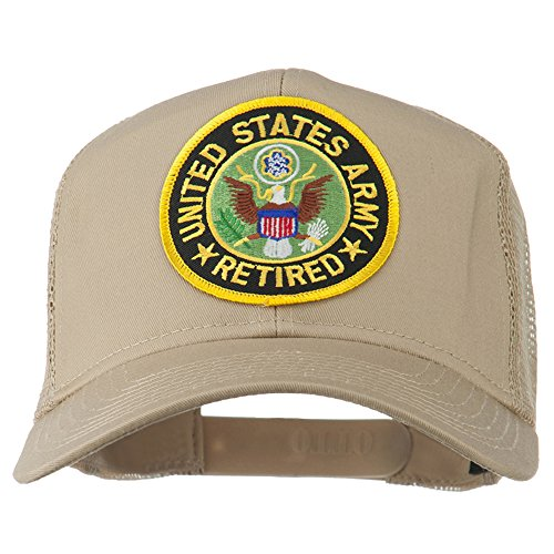 e4Hats.com US Army Retired Circle Patched Mesh Cap - Khaki -