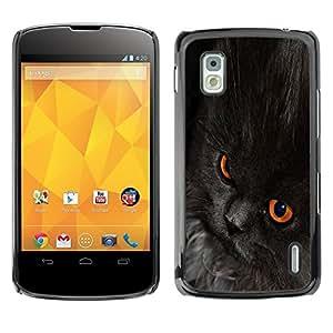 YiPhone /// Prima de resorte delgada de la cubierta del caso de Shell Armor - Nebelung Cat Black Eyes Chartreux - LG Google Nexus 4 E960