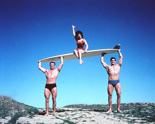 - Beach Party Annette Funicello 11x14 Promotional Photograph on Surfboard held up by beefy surfers