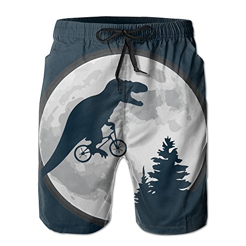 LOVEHOME Mens Dinosaur Bicycle Moon Tree Funny Summer Breathable Swim Trunks Beach Shorts Board Shorts (Dinosaur Swim Trunks)
