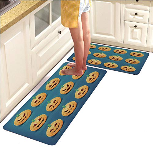 2 Piece Non-Slip Kitchen Mat Rubber Backing Doormat Runner Rug Set, Collection of Carved Halloween Pumpkin Faces Vector Illustration (18
