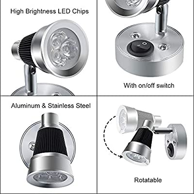 Luxvista RV Reading LED Light - 12V 3W Wall Mounted Rotatable Beside Reading Light Fixture Metal Wall Lamp with On/Off Switch for Reading Boat, Yacht, Caravan, and Motorhome Warm White (1-Pack): Automotive