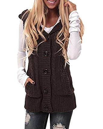 Imily Bela Women's Cable Knit Sleeveless Hoodies Button Down ...