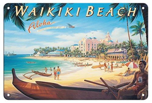 Tin Hawaii (Pacifica Island Art 8in x 12in Vintage Tin Sign - Waikiki Beach, Hawaii - Inter-Island Airways, Ltd. by Kerne Erickson)