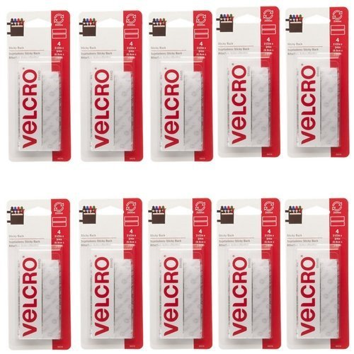 Sticky Back White VELCRO 3.5 Inch X 3/4 Inch 4 Sets Per Pack (10 Pack) by VELCRO Brand