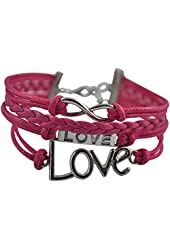 BlueTop(TM) Fashion Infinite Love Leather Weave Knit Cross Bangle Rope Bracelet Pink Silver