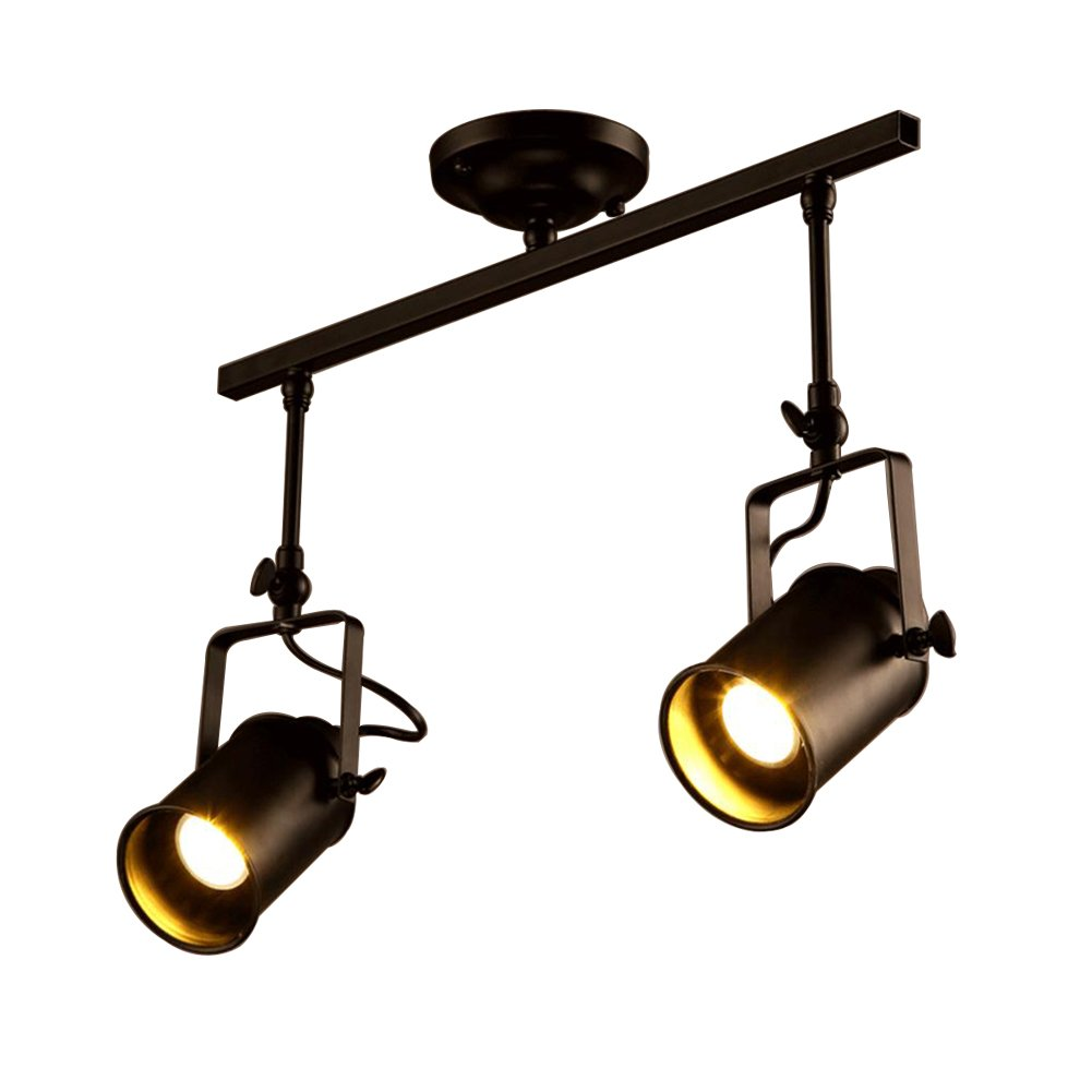 Vintage Retro Adjustable Spotlight, Motent Industrial Matte Black Metal Flush Mount Ceiling Lamp Track Light Antique Paint Iron Wrought Hanging Lighting Fixture with 3 Light for Kitchen Parlor Cabinet [Energy Class A+]