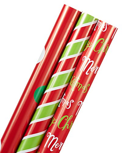 """American Greetings Merry Christmas Lettering, Chevron Stripes, and Dots Christmas Wrapping Paper, 3-Roll, 40"""", 195 Total Sq. Ft"""