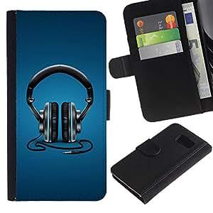 Billetera de Cuero Caso Titular de la tarjeta Carcasa Funda para Samsung Galaxy S6 SM-G920 / Headphones Music Beat / STRONG