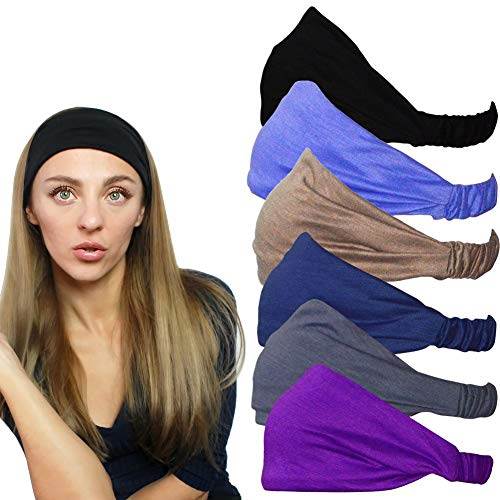 QING Headbands for Women Sweat Wicking Scarf Bandana Elastic Workout Headband Wrap Pack of 6
