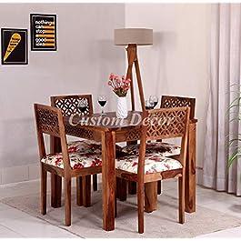 Custom Decor CNC Cuting Sheesham Wood Dining Table