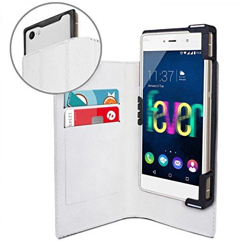eFabrik Housse de Protection pour Wiko Fever 4G coque en similicuir Étui sac Cover Case blanc