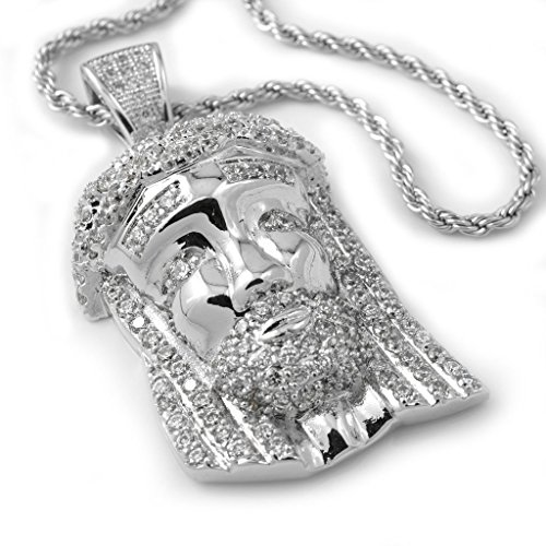 White Plated JESUS PIECE Pendant