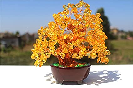 Feng Shui Natural Citrine Gem Stone Money Tree